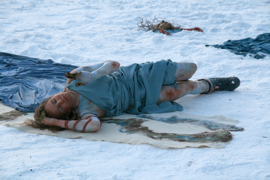 """Her Blue Sea Fire"", Live performance for the 7th International Conference on Environmental Aesthetics, Heinävesi, Finland. 2009. Performance took place on a frozen river. Photo: Eija Kvintus"